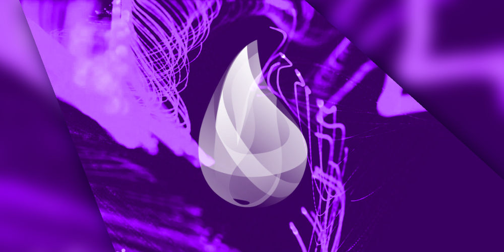 Elixir logo on abstract purple background